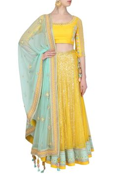 Madsam Tinzin presents Pop yellow and icy blue floral thread and zircons embroidered lehenga set available only at Pernia's Pop Up Shop. Indian Dress Up, Indian Attire, Indian Wear, Indian Style, Half Saree Lehenga, Indian Lehenga, Sarees, Indian Wedding Outfits, Indian Outfits