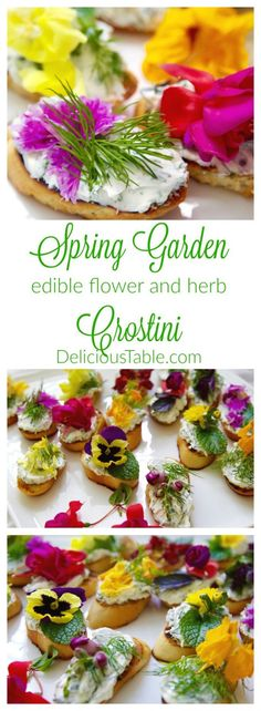 Spring garden crostini with edible flowers and herbs is a spectacular easy appetizer, perfect for a tea, garden party, wedding shower, or ladies luncheon.