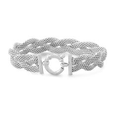Italian Rhodium Plated Braided Mesh Bracelet from Blue Bangle