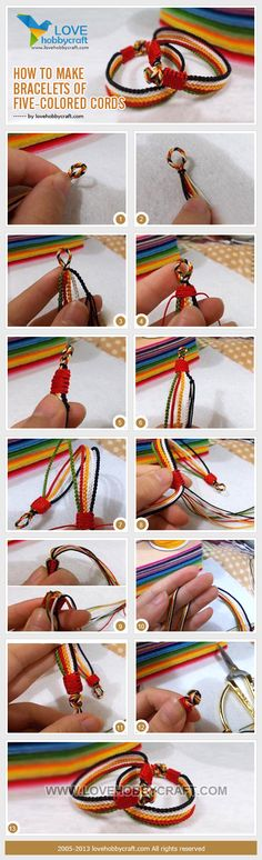 How-to-make-bracelets-of-five-colored-cords