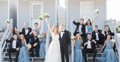 Beautiful Blues + Stunning Watercolors Makes This Summer Wedding Shine - Wedding Colors Steel Blue Bridesmaid Dresses, Grey Bridesmaids, Steel Blue Weddings, Dusty Blue Weddings, Black Tuxedo Wedding, Dusty Blue Dress, Blue Groomsmen, Wedding Colors, Wedding Ideas