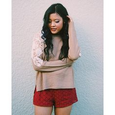 SnapWidget | The Dakota Lace inset sweater in Taupe  also available in gray and brown! Shop it now on shopdevi.com ✨ #shopdevi