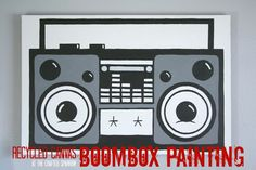 Recycled Canvas Boombox Painting - The Crafted Sparrow