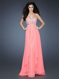 A-line Sweetheart Chiffon Floor-length Pink Rhinestone Prom Dress