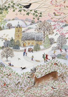 Lucy Grossmith paints all the things that she loves about Suffolk onto block canvas or textured paper with acrylic paints - original painting for sale Illustration Noel, Winter Illustration, Christmas Illustration, Illustrations, Original Paintings For Sale, Guy Fawkes, Winter Art, Naive Art, Whimsical Art