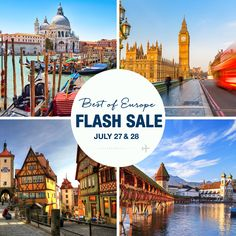 Back by Popular Demand: Europe Flash Sale! We heard you loud and clear! Our last flash sale on Italy was a big hit, so we've extended the sale to all of Europe with free or huge savings on airfare included! On Wed, July 27th we'll be kicking off a 2 day flash sale that will make some of our most popular tours more affordable than ever. We are talking about huge savings on 23 tours to Italy, Ireland and more! Who knows when you'll see an offer like this again? Don't miss out! Free or…