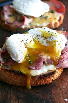 Recipe For Croque Monsieur with Poached Eggs - This is one of those things where a little of everything — a tablespoon of béchamel, a slice of ham, a handful of cheese — goes a long way.