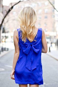 Yumi Kim Blue Cobalt Bow back Sweetheart Dress