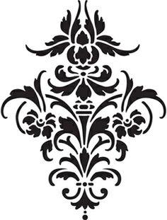"Back of book shelf? Craft Super Center - Momenta Laser Cut Stencil 8"" x 10"" - Damask Motif, $6.24 (http://www.craftsupercenter.net/momenta-laser-cut-stencil-8-x-10-damask-motif/)"