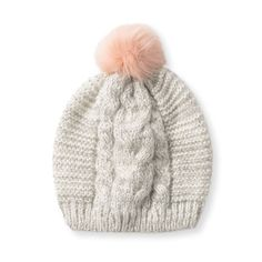Indulge in sweet sorbet shades with our Peaches & Cream Knitted Pom Pom Hat.