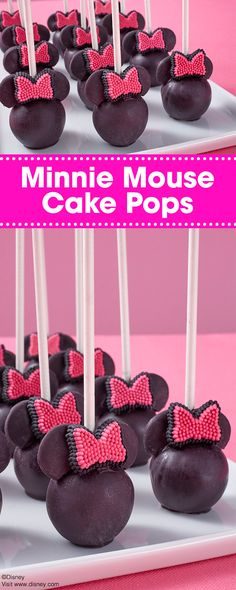 Hosting a Disney Minnie Mouse-themed party? These Minnie Mouse Cake Pops are a great way to please any crowd! Topped with sweet little pink bows, these tasty cake pops are super easy to make and are a fun way to brighten up any fan of this famous female mouse! You can also make Mickey-themed cake pops by omitting the bow.