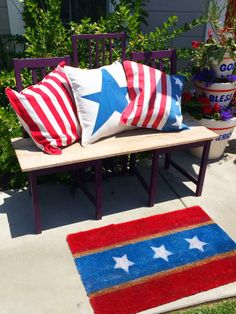 DIY Fourth of July pillows and a doormat with @kennethwingard!