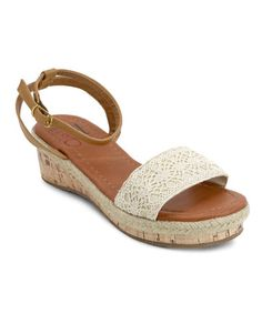 Look at this #zulilyfind! Beige Paisley Wedge Sandal #zulilyfinds