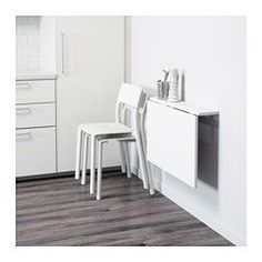 Mesa de armar - NORBERG Wall-mounted drop-leaf table IKEA Becomes a practical shelf for small things when folded down. Small Apartments, Small Spaces, Table Top Covers, Wall Mounted Table, Wall Mounted Desk Folding, Folding Walls, Ikea Folding Desk, Wall Table Folding, Folding Sewing Table