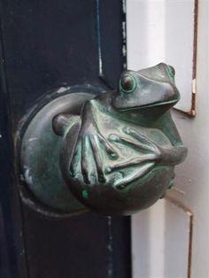 bronze patinated frog door knob