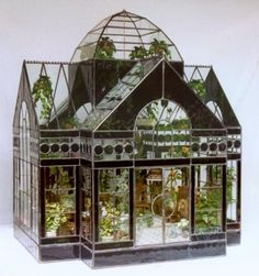 The Great Conservatory ~ a gorgeous glass house terrarium Miniature Greenhouse, Greenhouse Plans, Cheap Greenhouse, Portable Greenhouse, Backyard Greenhouse, Miniature Rooms, Miniature Houses, Miniature Gardens, Doll House Miniatures