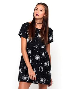 Motel Tiara Babydoll Dress in Sun Moon Stars Print, TopShop, ASOS, House of Fraser, Nasty gal