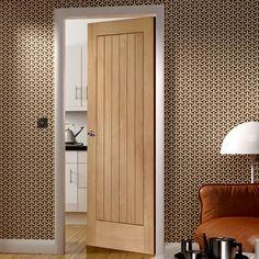 Suffolk Oak Door with Vertical Lining. #suffolkcottagedoor #modernoakdoor #xljoinerydoor