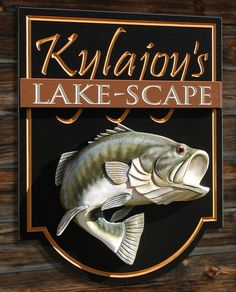 The dimensional hand sculpted large mouth bass jumps right out of this striking property sign. The add on panel with carved text also adds depth. Lake House Signs, Cottage Signs, Property Signs, Commercial Signs, Fishing Signs, Outdoor Signage, Restaurant Signs, Fish Art, Home Signs