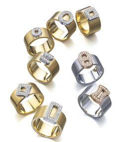 Anillos de oro amarillo y blanco anchos con diamantes de LK