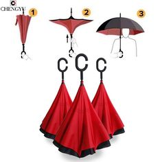 >> Click to Buy << C-type umbrella Reverse Folding Double Layer Inverted Umbrellas Self Stand Inside Out Hands For Car Rain and sunny  #Affiliate