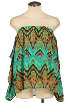 Turquoise Caftan Print Blouse Off-shoulder top Spring Summer Women's Fashion Easter Outfits