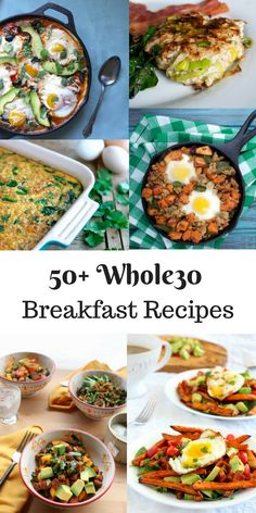 Looking for Whole30 Breakfast ideas? Look no further! I've got 50+ Whole30 Breakfat Recipes right here! There's baked eggs,breakfast meat, breakfast bowls, smoothies, skillets, casseroles and more! Baked Eggs Quick Egg Muffin Recipe Paleo Egg Muffins (Spinach, Mushrooms, Sausage) Spaghetti Squash Breakfast Cups Simple and Healthy Baked Eggs in Avocado Eggs And Bacon In Sweet Potato Cups Paleo Kale and Chives Egg Muffins Sweet Potato Turkey Sausage Egg Bake Paleo Smoked Salmon Egg Bake…