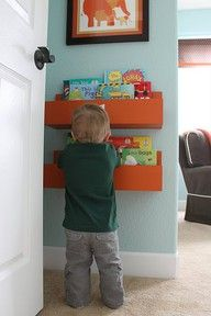 boys room! Love the book shelves thinking of making them out of reclaimed pallet boards.  My sons room is blue and green and I think the pop of orange is what it needs.