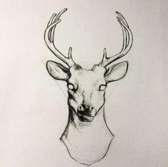 Эскиз татуировки олень