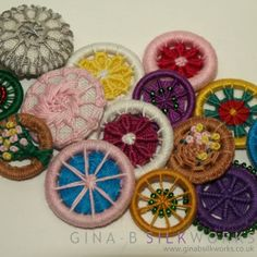 Needle work and Dorset style ring buttons by Gina Barrett