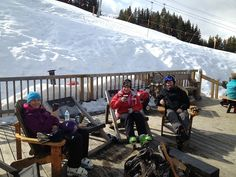 Getting a quick drink at a mid-mountain pit stop!
