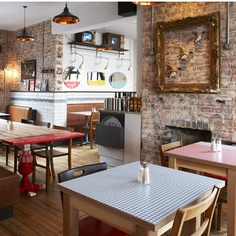 Union Jacks in Chiswick (Jamie Oliver & Chris Bianco). The exposed brick and open fireplace look bang on trend.