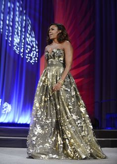 Michelle Obama Just Wore the Type of Gold Gown You Need to Zoom In On