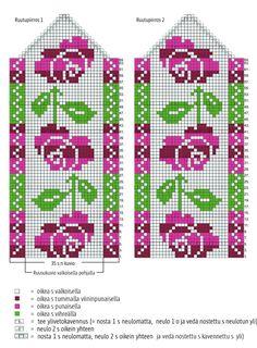 Ruususukkien ohje   Kodin Kuvalehti Double Knitting Patterns, Crochet Mittens Free Pattern, Knitting Machine Patterns, Knitting Charts, Knit Mittens, Knitting Stitches, Cross Stitch Patterns, Baby Hats Knitting, Knitting Socks