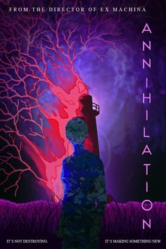 Annihilation (2018) [682 x 1024] Film poster.  The brightly colored vines are juxtaposed by the dark background of the Films title.