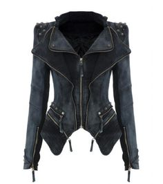 Lookbookstore Sharp Studded Lapel Blazer - Grey Studded Denim Jacket, Denim Blazer, Denim Coat, Blazer Jacket, Denim Jeans, Punk Jeans, Gray Blazer, Gray Jacket, Moto Jacket