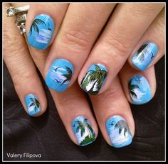 Look Adorable with these Manicure Tips and Designs for Short Nails New Nail Polish, Nail Polish Colors, Hair And Nails, My Nails, Tropical Nail Art, Oval Shaped Nails, Manicure Tips, Beach Nails, Cool Nail Designs