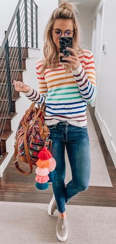 Perfect Spring Outfits To Copy Now – Casual Outfit – Casual Summer Outfits Mode Outfits, Fall Outfits, Casual Outfits, Fashion Outfits, Womens Fashion, Casual Bags, Black Outfits, Sweater Outfits, Bright Summer Outfits