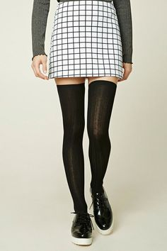 Ribbed Knit Over-the-Knee Socks / One Size / Color: Black / $6.90 / forever21.com