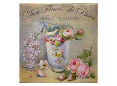 """Aux fleurs de Paris """" Boutique rue saint Honoré - Flower Shop , blue tit, roses -Sevres cup - Original oil painting Helen Flont ,"""