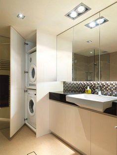 14 Multifunctional Bathroom Designs With Laundry Space 14 Multifunktionale Badezimmerdesigns mit Waschraum Laundry Bathroom Combo, Laundry Room Wall Decor, Laundry Room Cabinets, Laundry Room Design, Bathroom Layout, Bathroom Interior, Small Bathroom, Bathroom Designs, Bathroom Ideas