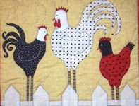 Free Chicken Crochet Patterns   ... more details of Fence Walkers (applique pattern) by Bobbie G. Designs