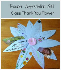 A tag board flower with a special note from each child in the class from @Jenn L Milsaps L Daniel FoursMom .