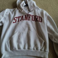 White Stanford hoodie White Stanford hoodie. Ripped V at neck, as shown in picture. Gently worn. Tops Sweatshirts & Hoodies
