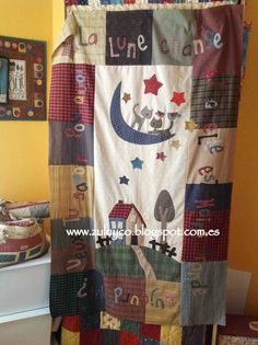 like the large blocks would like other applique, Zulu and Co : La Lune Zulu, Colchas Country, Country Quilts, Baby Patchwork Quilt, Mini Quilts, Hand Applique, Embroidery Applique, Country Style Curtains, House Quilts