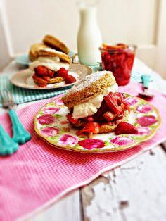 sweetsugarbean: Rye Shortcakes with Roasted Strawberries & Rhubarb