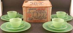 Fire King Jadite Jadeite Jade-ite Jane Ray 12 Pc Starter Set W/Box Ex Cond
