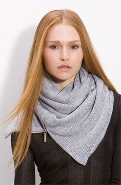"""MICHAEL Michael Kors 'Metallic Zipper Infinity' Scarf   A front zipper styles a shimmery knit scarf fashioned in one continuous loop.        Approx. width: 12"""".      Approx. inner circumference: 78"""".      Acrylic/wool/metallic fibers."""