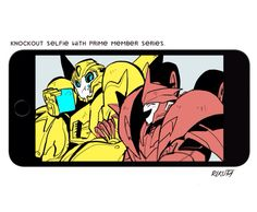 Knockout: hey bee! ^^ Bumblebee:the frag? let me eat my emergon cube! Little fragger. ..