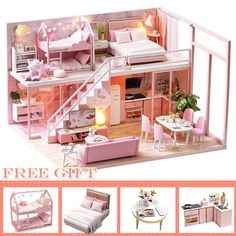 DIY Mini House Hand-made Loft Contracted Apartment DIY Wooden Small House DIY House Making Accessories for Home Office Hotel